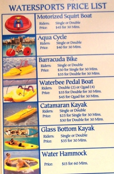 Blue Adventures price list, Atlantis